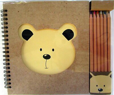 Drawing Book With Cutout Teddy Bear Face + 12 Coloured Pencils! Brand New