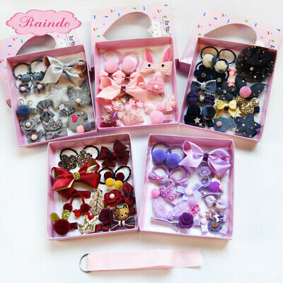 18Pcs/Set Baby Girls Boutique Head Clips Hair Bows Crown Princess Bobbles Gift