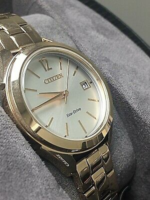 Citizen FE6143-56A Women's Eco-Drive LTR Rose Gold Tone Silver Dial Date Watch