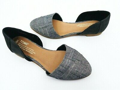 be993476277 Toms Womens Jutti D orsay Black Leather Chambray Flats Multi Sizes Available