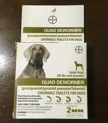 New Bayer Quad Dewormer For Medium Dogs 26 - 60 lbs - Exp Feb 2020