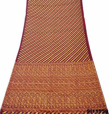 Vintage Brown Saree Women Wrap Striped Pattern Silk Blend Craft 5Yd Sari SI11950