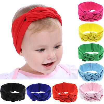 1PC Baby Girls Headband Hairband Braided Knotted Turban Solid Hair Accessories
