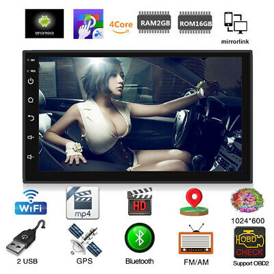 Double 2Din Android 8.1 Car Stereo MP5 Player GPS Navi WIFI BT Mirror Link
