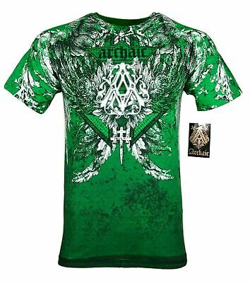 ARCHAIC by AFFLICTION Mens T-Shirt GRIFFIN Skulls Cross Wings MMA Biker Gym $40