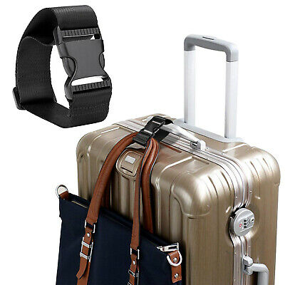 Add-A-Bag Luggage Strap Baggage Suitcase Adjustable Belt Travel Attachment Black