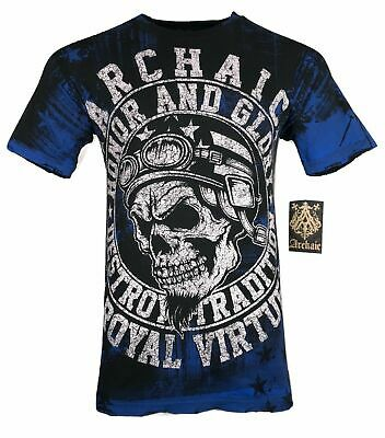 ARCHAIC by AFFLICTION Mens T-Shirt DEATH RACER Skull Wings MMA Biker GYM $40