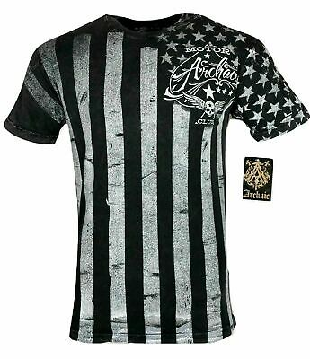 ARCHAIC by AFFLICTION Mens T-Shirt NATION Skull Wings US Flag MMA Biker GYM $40