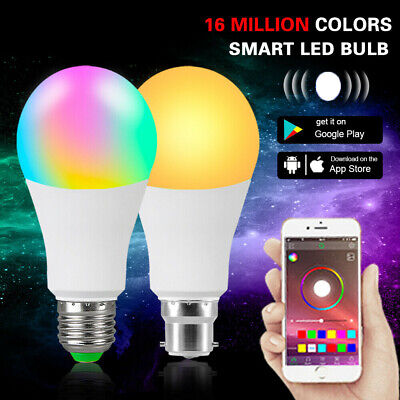 APP WiFi Wireless Smart LED Light Bulb Dimmable RGB Lamp For Alexa Google Home