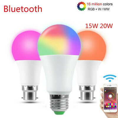 WiFi Bluetooth Dimmable RGBW Light LED Bulb APP Remote Control Lamp E27 B22