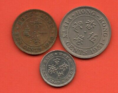 1939 Five Cents, 1948 Ten Cents & 1951 Fifty Cents HONG KONG Coins George Sixth