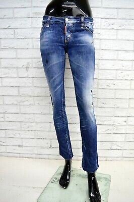 Jeans Donna DSQUARED2 Taglia 38 Woman Pantalone Slim Fit Pants Blu Elastico 52ce74034b01