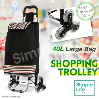 Nylon Shopping Bag Cart Carts Vibrant Coloured Trolley Luggage Wheels 40L Black