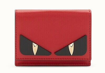Fendi micro trifold wallet compact crayons Womens Bag Bugs Red black gold  eyes 635c80d5b92b7