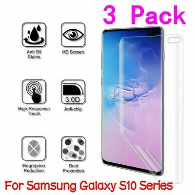 1-3x For Samsung Galaxy S10 Plus S10e Full Coverage Clear TPU Screen Protector
