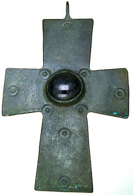 Double Sided Byzantine Bronze Christian Cross Pendant with Stone