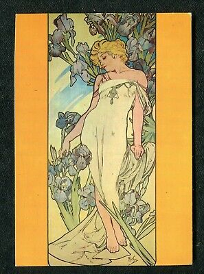 Posted 1960s Art Card: Mucha: Young Lady in White Dress