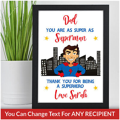 Personalised SUPERHERO Birthday Gift For Dad Daddy Grandad Him Male Fathers Day