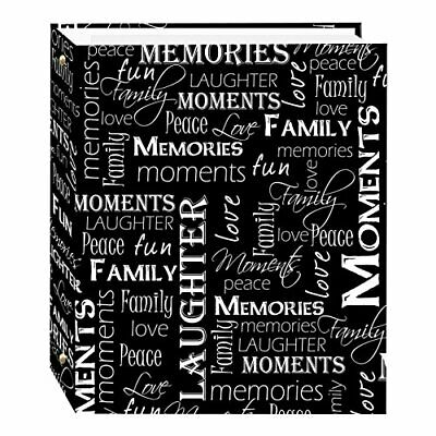 Magnetic Self-Stick 3-Ring Photo Album 100 Pages (50 Sheets), Black & White Word