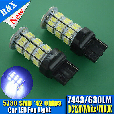 2 x NEW 580 42SMD LED COLD WHITE 7443 W21/5W T20 DRL DAYTIME RUNNING LIGHT BULBS