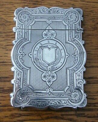 A Hallmrked Birmingham 1876 Solid Silver Card Case By George Unite