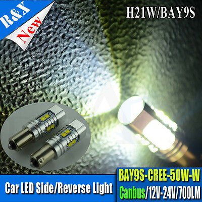 2x AC10-30V H21W BAY9S 120° 433D Power LED CREE 50W SMD Lampe Birne Auto Can-bus
