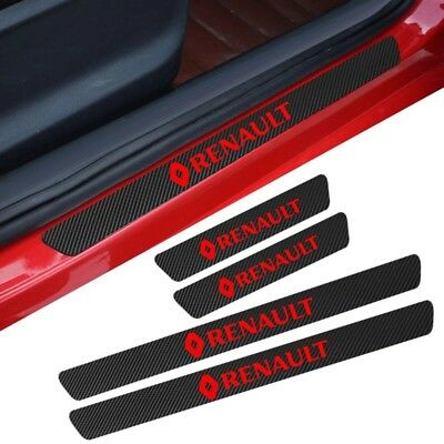 Renault Badge Carbon Fibre Plate Door Sill Protector Stickers CLIO MEGANE LOGAN