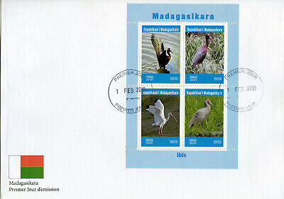 Madagascar 2019 FDC Ibis 4v M/S Cover Water Birds Stamps