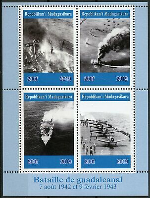 Madagascar 2019 MNH WWII WW2 Battle of Guadalcanal 4v M/S Aviation Ships Stamps