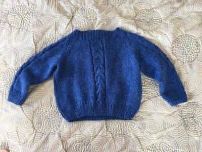 Vintage Blue Hand Knit Wool Sweater Handmade by Mary Fran Kid's Sz 4