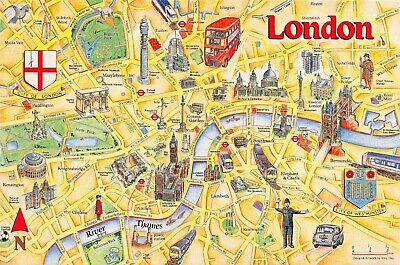 CITY OF LONDON Map Card Postcard by Crossroads Postcards No.90 77M City Of London Map Uk on