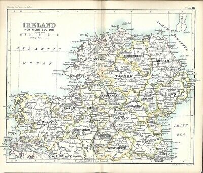 Original 1896 Map IRELAND Northern Section Connaught Ulster Londonderry Donegal