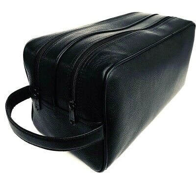Full Grain Quality Durable Leather Wash Bag for Men 2 compartments Toiletry Bags