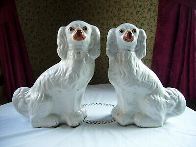 """Large Pair Antique Victorian Staffordshire Flatback Mantle Dogs Spaniels 12"""""""