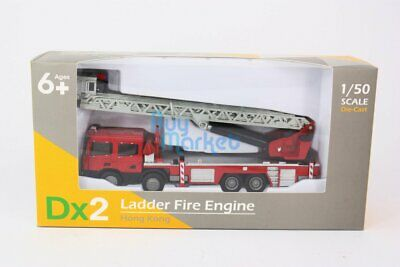 TINY Hong Kong Scale 1/50 Dx2 Ladder Fire Engine Diecast Red Toys Car Model