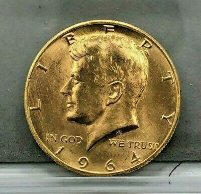 1964-D Gold Plated 90% Silver 50c Kennedy Half Dollar