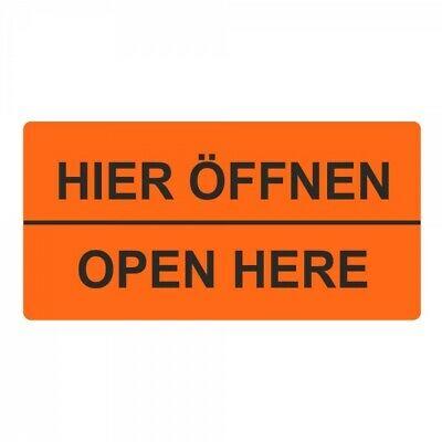 "Shipping Labels/Warning Label "" Here Open Open Here "" 30 x 62 mm - 1000 Piece"