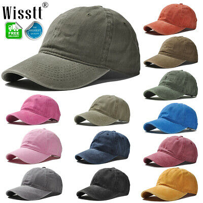 Unisex Mens Womens Solid Color Plain Washed Out Casual Baseball Cap Trucker Hats