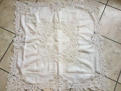 """Antique vintage large 32"""" off white cotton pillow sham with lace & embroidery"""