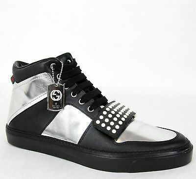 b7f09d49297 New Gucci Men s Silver Leather High-top Sneaker Limited 10G US 10.5 376194  1064