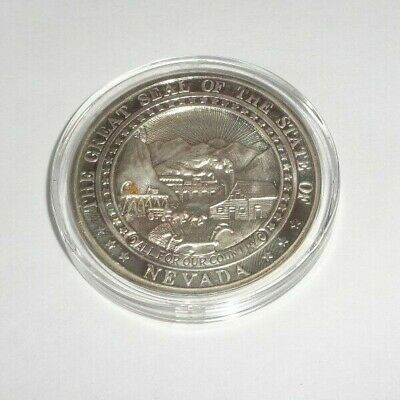 Nevada Silver Triangle 2 Oz .999 Silver Art Round & Gold Nugget The Silver State