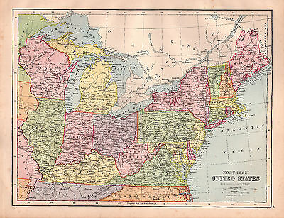 MAP OF NORTHERN United States Large 1880 Original Antique - $13.08 ...