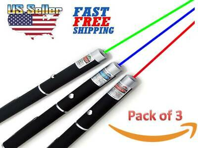Pack of 3 Green + Blue Violet + Red Light Beam Powerful 5MW Laser Pointer Pen