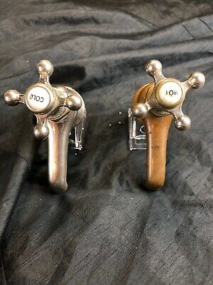 Vintage Brass Chrome Spigots Porcelain Hot Cold Made By VICTOR Set B