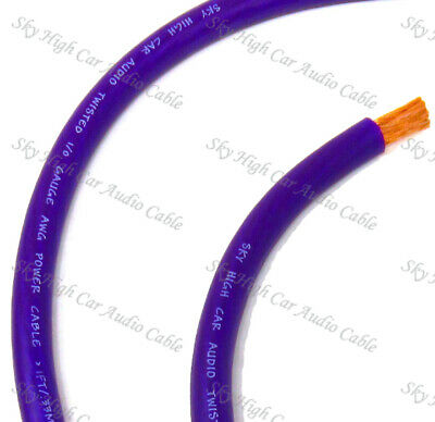 25 FT 1/0 Gauge Oversized AWG PURPLE Power Ground Wire Sky High Car Audio  Cable