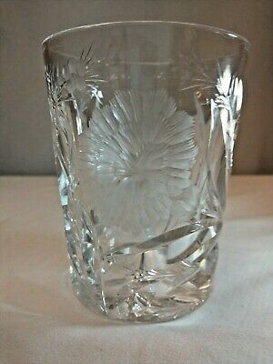"Hawkes ABP Rock Crystal ""Carnation"" Tumbler Whiskey Glass Signed Flowers"
