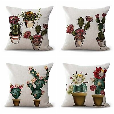 US SELLER- set of 4 Cactus succulents cushion covers decorative covering