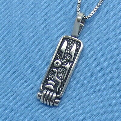 """Sterling Silver Egyptian Cartouche Pendant Necklace - 16 18 20 or 24"""" - p160462"""