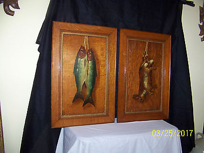 Pair c1900 Arts & Crafts Original Oil Trompe L'Oeil Painting Artist Signd