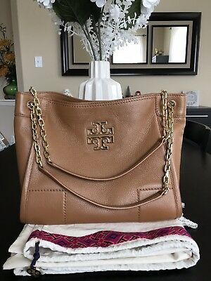 33316ef5d659 Auth. Tory Burch Small Britten Pebbled Leather Slouchy Tote Color Bark Sold  Out
